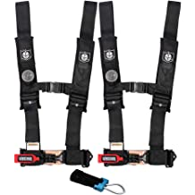 Pro Armor A16UH348RD A16UH349RD Auto Style 4 Point Harness 2 Seat Belt Red Driver Passenger Side