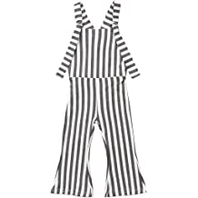 43d992e73 Toddler Kids Baby Girl Stripes Bell-Bottom Jumpsuit Romper Overalls Pants  Outfits