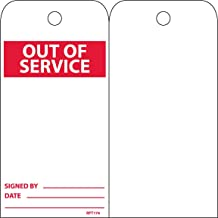 Pack of 25 NMC RPT153 Bilingual Accident Prevention Tag OUT OF SERVICE Black//Red on White Unrippable Vinyl 3 Width x 6 Height OUT OF SERVICE 3 Width x 6 Height