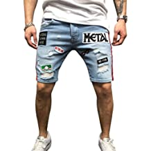 Mens Ripped Shorts Jeans Clearance Sale NDGDA Cotton Distressed Denim Casual Holes Pants Summer Shorts