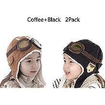 4e1a05aff978b CTKcom 2-Pack Pilot Aviator Fleece Warm Hat Cap with Earmuffs for Kids (Coffee