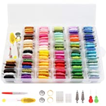 Agirlgle Embroidery Floss with Organizer Storage Box String Embroidery Thread Kit Including 100 Cross Stitch Thread and 40 Pcs Cross Stitch Tool Kit for String Making Friendship Bracelets Gift