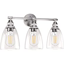 Wall Vanity Light Fixture E26 Base Farmhouse Bathroom Lighting Modern Vintage Porch Wall Lamp for Mirror Kitchen Living Room Workshop 3-Light Brushed Nickel Wall Sconce Lighting with Glass Shade