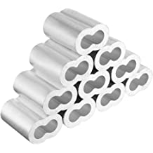 TOOGOO 100pcs 3//16 inch Diameter Wire Rope Aluminum Alloy Sleeves Clip Fittings Cable Crimps 5mm