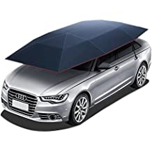 Super PDR Semi-Automatic Tent Movable Carport Blue Folded Portable Car Umbrella Universal Sunshade 157.48X86.62