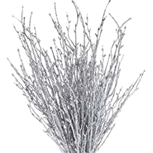 Home Accenting and Creating Factory Direct Craft Group of 12 Glitzy Rose Gold Glitter Twig Embellishing Stems for Event Decor