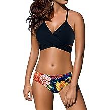 592b6b44ea811 PRETTYGARDEN Women's One Piece Halter Straps U Neck Backness Swimsuits  Monikini Bathing Suit. KWD 8. Z-Dear Women's Sexy Low Waist Bandage Bikini  Beachwear ...