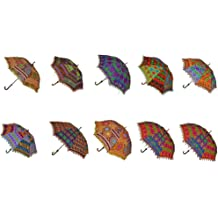 c4aa10c359c49 Rajasthali Indian Handmade Designer Cotton Fashion Multi Colored Umbrella  Embroidery Boho Umbrellas Parasol 10 Pcs Lot