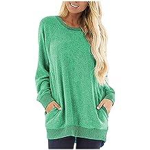 DBHAWK Womens Color Block Long Sleeve Tunic Tops Crew Neck Sweatshirt Pockets Loose Casual Blouse Shirts
