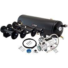 Vixen Horns Train Horn for Truck//Car Fits 12v Vehicles Like Semi//Pickup//Jeep//RV//SUV VXH3318B 3 Air Horn Black Heavy Duty Trumpets Super Loud dB