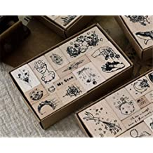 Mvchif Vintage Wooden Stamps Set Rubber Seal for DIY Stationery Scrapbooking Handbook Diary Letter Decor Star Series