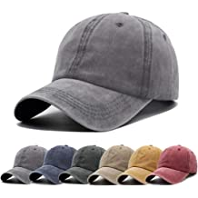 d7d3e0ba Unisex Vintage Washed Distressed Baseball-Cap Twill Adjustable Dad-Hat