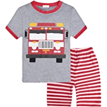 Toddler Boys Pajamas Fire Truck 100/% Cotton Kids Train 2 Piece Short Sets Summer Sleepwear Clothes Set 1-7 T