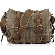 55f44c522 Sechunk Vintage Military Leather Canvas Laptop Bag Messenger Bags Medium