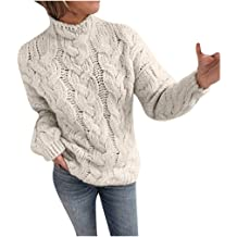 Round Neck Long-Sleeve Stitching Print Knit Sweater Light Soft Cozy Warm Blouse Lazapa Winter Casual Tops for Women