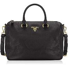 11a24dacaab8 Prada Bauletto Women's Black Nero Vitello Phenix Handbag 1BB023