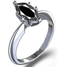 RINGJEWEL 1.70 ct AAA Round Cut Real Moissanite Solitaire Engagement /& Wedding Ring Black Color Size 7.5