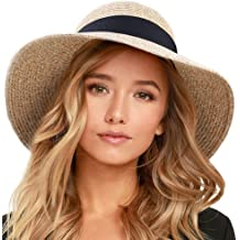 5749c1483c5ef FURTALK Womens Beach Sun Straw Hat UV UPF50 Travel Foldable Brim Summer UV  Hat