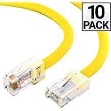 40 Gigabit//Sec High Speed LAN Internet//Patch Cable 2000MHz 24AWG Network Cable with Gold Plated RJ45 Snagless//Molded//Booted Connector Yellow GOWOS Cat8 SFTP Ethernet Cable 5-Pack - 1 Feet