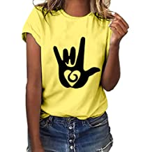 3ad4bc9a Plus Size Love Gesture Printed T Shirts Womens Loose Short Sleeve Tops Plus  Size Summer Tees