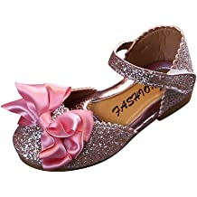 Toddler KidsBaby Girls Pearl Crystal Bling Bowknot Single Sandals Anti-Slip Fashion Casual Flat Shoes Purple BOLUBILUY Girl Princess Sandals