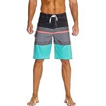 fb0b117e1f23d Unitop Men's Bathing Board Trunks Beach Shorts Holiday Hawaiian  Colorful Striped