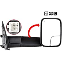 2009-2015 Dodge RAM 1500 Right Side Tow Mirror Power Heated Truck Mirror Manual Maxiii Compatible for Dodge RAM Passenger Right Side Towing Mirror 2010-2015 RAM 2500 3500 Trailer Tow Mirror