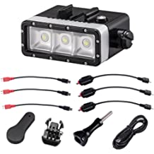 TELESIN Waterproof Superpower Dual Battery Rechargeable Underwater Diving Light Flash Dimmable LED Fill Night Light Mount Kit for Gopro Hero 5 Black,Hero 5 Session,Hero4 Session,4,3+,3,SJ Cameras