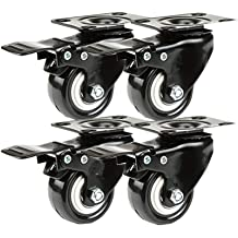 Double Storage Trolley for Long-Term Use Zxwzzz 4-Piece Rolls Heavy Duty Industrial Transportation Universal Castors 2 Inch 50 Mm Nylon Rollers with Fixed Plate