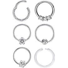 JFORYOU 4-6 Pcs Earrings Cartilage Tragus Earrings 16G Surgical Steel Opal /& CZ Rook Hoop Helix Conch Snug Daith Piercing Jewelry for Women Men