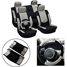 Stretchy Universal Seat Cushion w//Headrest Cover 100/% Breathable Automotive Accessories Durable Suede//Polyester for Most Cars OCPTY Car Seat Cover Black//Gray