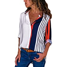 ab4ea82b5 Orangeskycn Long Sleeve Shirts for Women Casual Color Block Button T Shirts  Stripe Printed Tops
