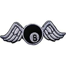 Black IRON-8-BLACK Eight 8 Ball Billiards Pool Sewing Iron on Applique Embroidered Emblem Badge Patch By Ranger Return