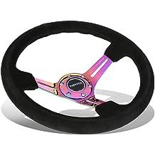 NRG Innovations Reinforced RST-036MF-MC 350mm 3 inches Deep Dish Neo Chrome Spoke Mint Fresh Wood Grain Steering Wheel