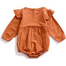b30ca37b YOHA Baby Girls Autumn Spring Ruffle Long Sleeve Toddler Romper Jumpsuit  Outfit