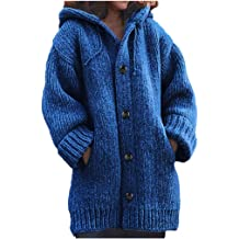 LuminitA Womens Hooded Sweatshirts Classic Solid Color Long Sleeve Button Pockets Slim Fit Pullover Tops