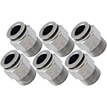PTC Straight Pneumatic Fitting for 3//8 OD Hose Vixen Air 1//4 NPT Male Push to Connect Bundle of six Fittings VXA7148-6