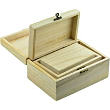 Firecolor Unfinished Wood Chest Wood Classic Box Wooden Jewelry Storage Case Treasure Lock Storage DIY Craft Hinged Lid for Arts Crafts