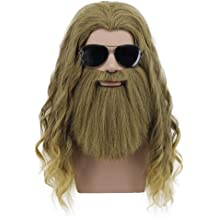 Linfairy Short 80s Costumes Mens Disco Dirt Bag Wig /& Moustache Halloween Cosplay Costume Black Wig