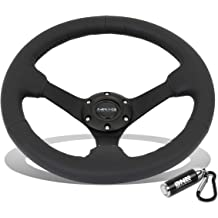 12.60 Inches Steering Wheel Black Leather//Black 3 Spokes//Yellow Stitch and Stripe 3.50 Deep Dish 70mm 6-Bolt Pattern 320mm