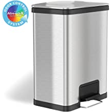 Office Garage Ultra Space-Saving Large Capacity Commercial Grade for Home Stainless Steel iTouchless 16 Gallon Oval Open Top Trash Can and Recycle Bin with AbsorbX Odor Control System Business