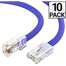 RJ45 UTP Ethernet Network Patch Cable Snagless//Molded Bubble Boot 1FT// Purple Grandmax CAT6 10 Pack 550MHz