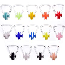 YAIKOAI 5 Pcs Waterproof Swimming Nose Clip Clear Blue PC Silicone Nose Plug for Kids and Adults Surfing Swim