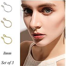 21pcs Fake Septum Clicker Crystal Nose Ring Assorted Design Hanger Clip On