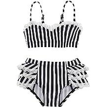 NZRVAWS Toddler Baby Girls Swimsuit Off Shoulder Stripe Halter Two Piece Bikini Bathing Suit Swinwear Beachwear