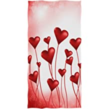 16 x 30,Red Naanle Loving Couple of Exotic Pink Flamingo Heart Shape Romantic Wedding Valentines Day Soft Hand Towels for Bathroom Gym and Spa Hotel