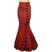 Red Gothic Steampunk Stitched Jacquard Skirt XS-28 Shimmery Night in London