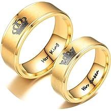 AMDXD Jewelry Ring for Women Zirconia Twill Zirconia Gold Stainless Steel Ring Women 6 MM,Single Sale