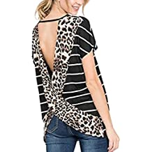 L, Hot Pink Gallity Womens Casual Leopard Print Patchwork Open Back V-neck Short Sleeve Loose T-Shirt