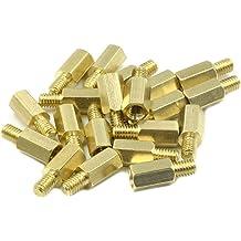 HONJIE M4 x 10mm 30 Pcs 6mm Male to Female Thread Brass Hexagon Hex Standoff Spacer Pillars